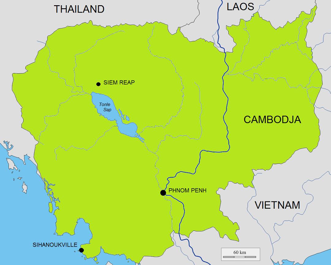 Kaart met de belangrijkste bestemmingen voor een vakantie Cambodja