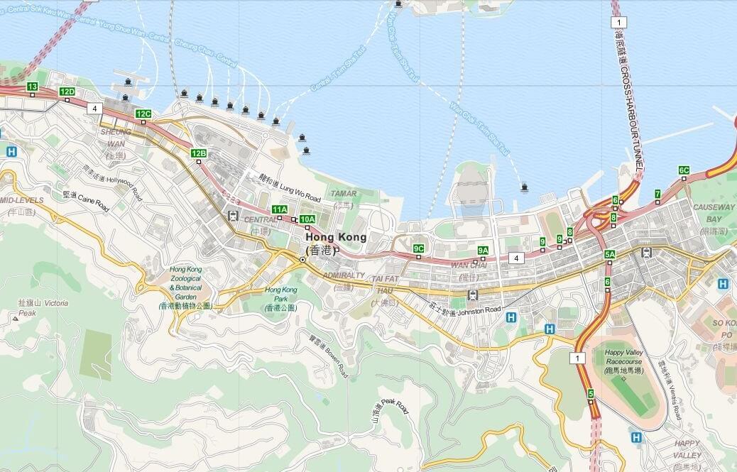 Kaart Hong Kong Island - Hong Kong, S.A.R. China