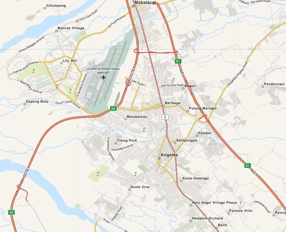 Kaart Angeles City & Clark, Luzon, Filipijnen