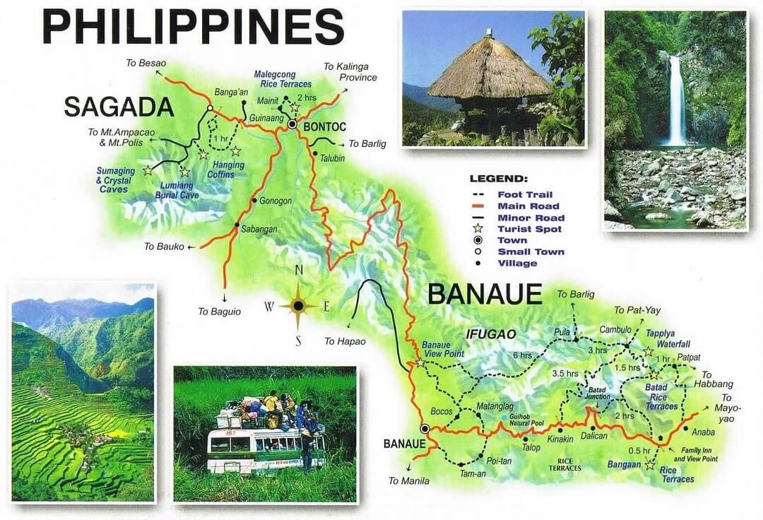 Kaart Banaue, Sagada en Omgeving - Luzon, Filipijnen