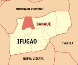 Ligging Banaue in de provincie Ifugao - Luzon, Filipijnen