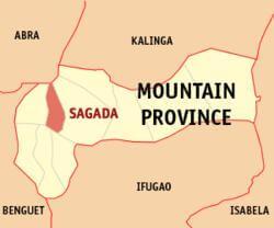 Ligging Sagada in de Mountain Province - Luzon, Filipijnen
