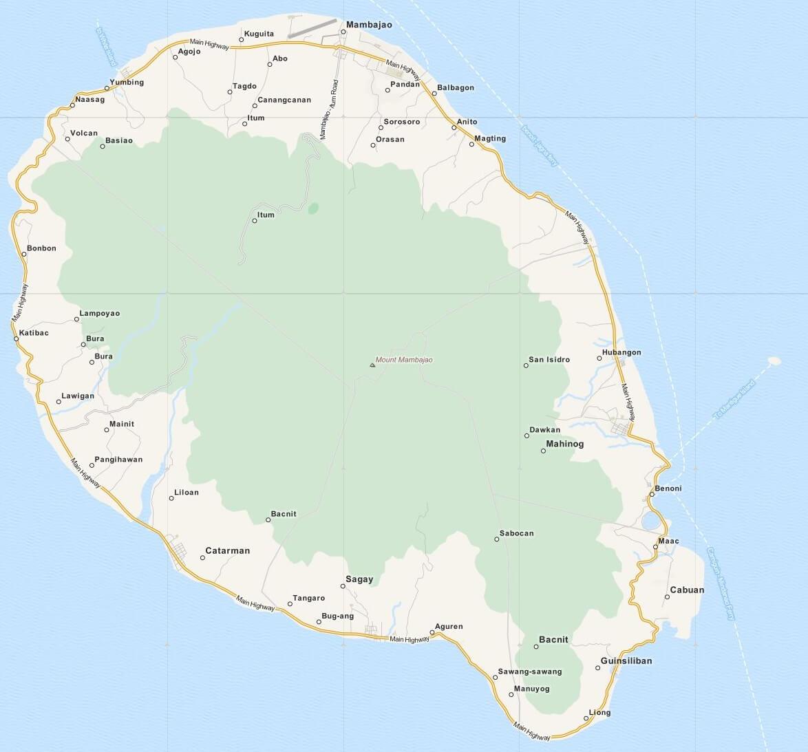 Kaart Camiguin, Mindanao, Filipijnen