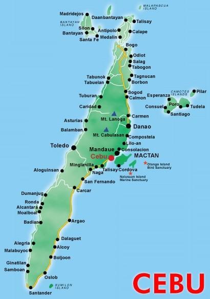 Kaart provincie Cebu - Central Visayas, Filipijnen