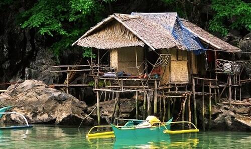 Woning van een Tagbanua - Coron Island, Palawan, Filipijnen