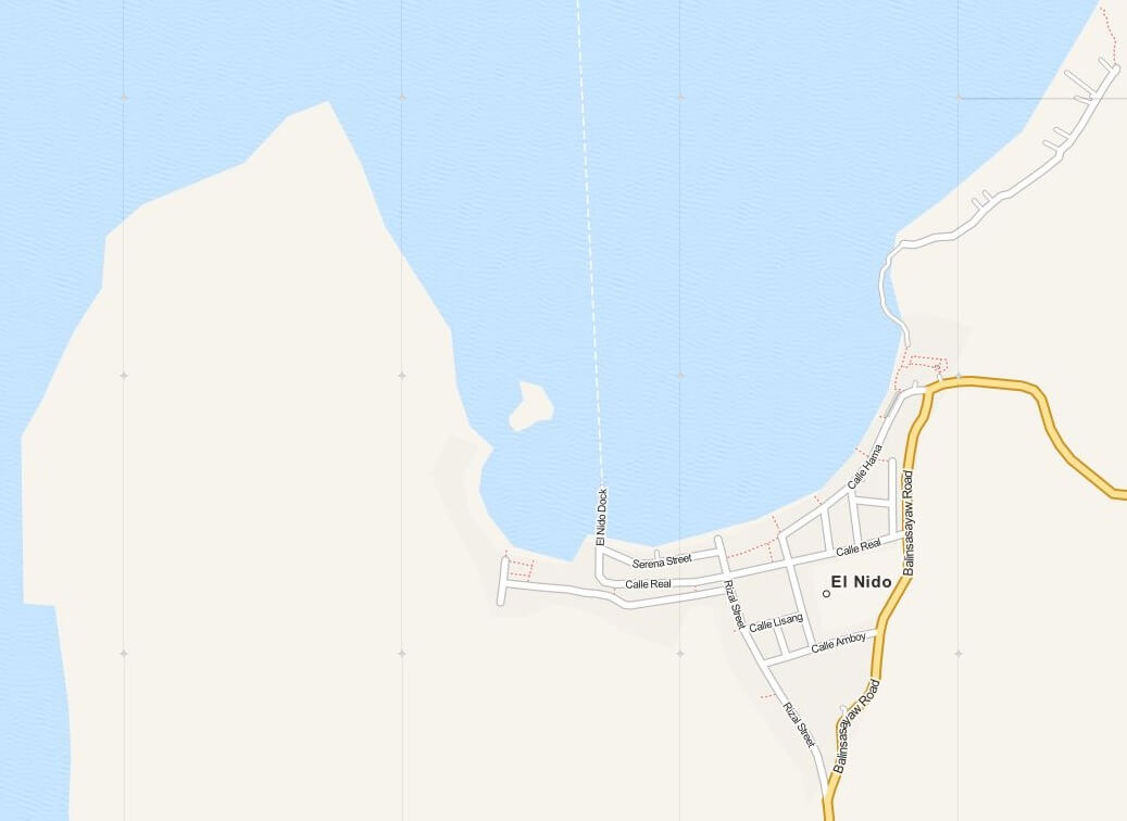 Kaart El Nido Town op Palawan Island, Filipijnen