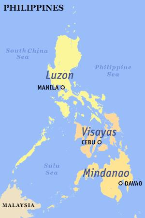 De Filipijnen wordt onderverdeeld in de eilandgroepen Luzon (noord), Visayas (midden) en Mindanao (zuid)