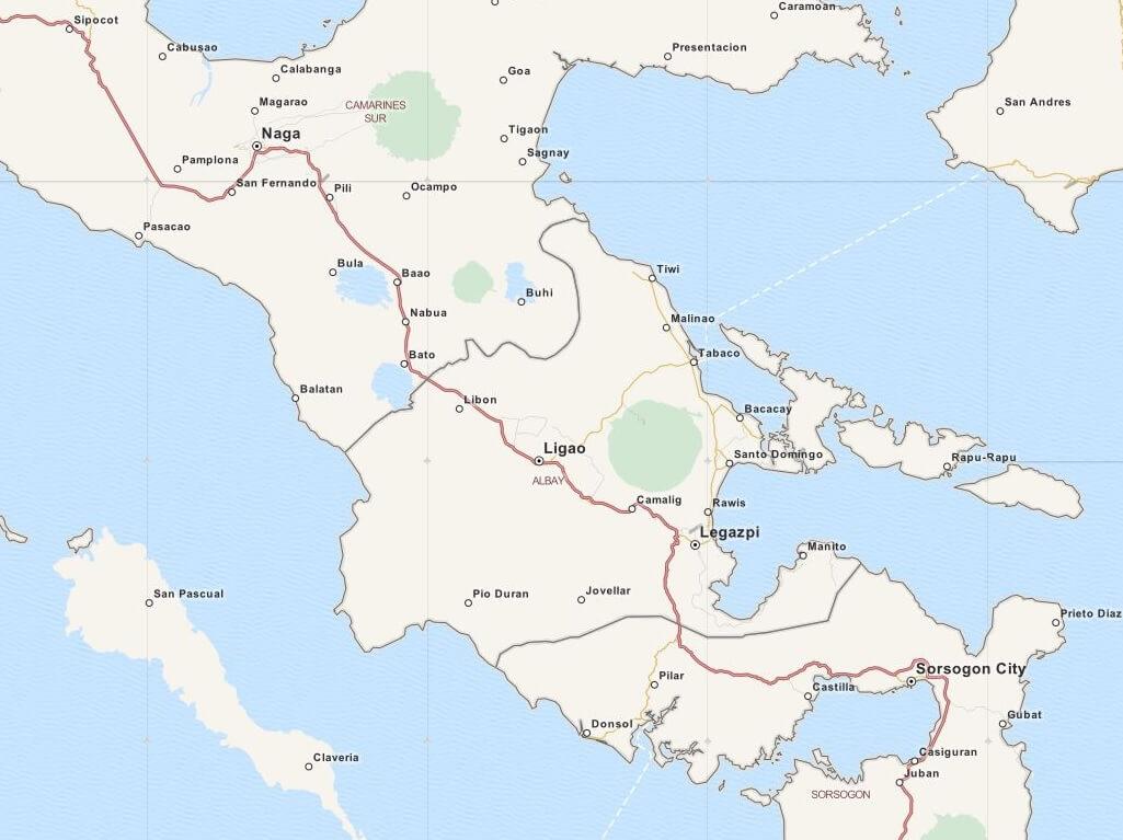 Kaart Legazpi en omgeving, Luzon, Filipijnen