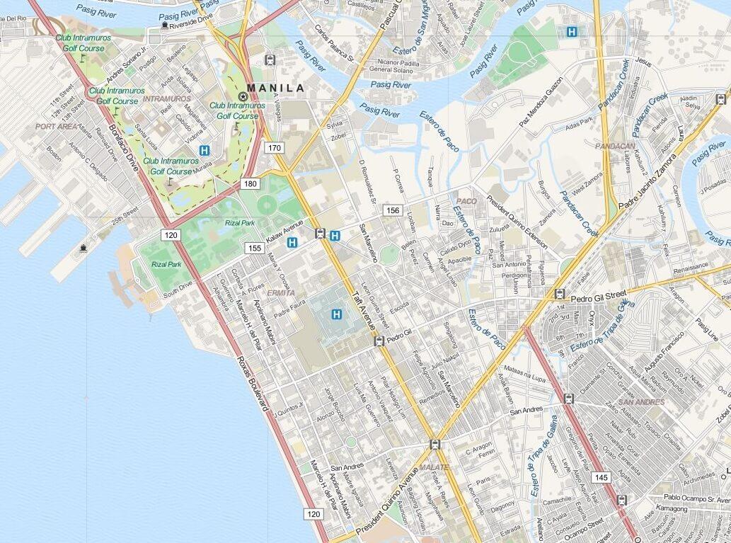 Kaart Manilla (Manila) - Luzon, Filipijnen