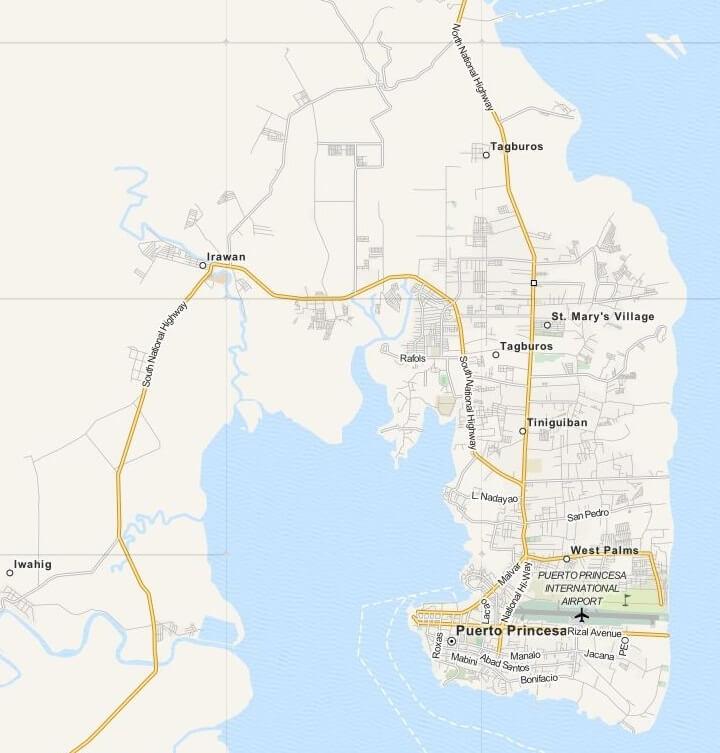 Kaart Puerto Princesa City op Palawan Island, Filipijnen