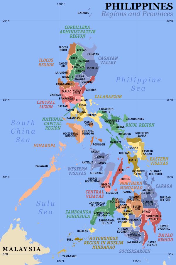 Kaart met regio's en provincies in de Filipijnen