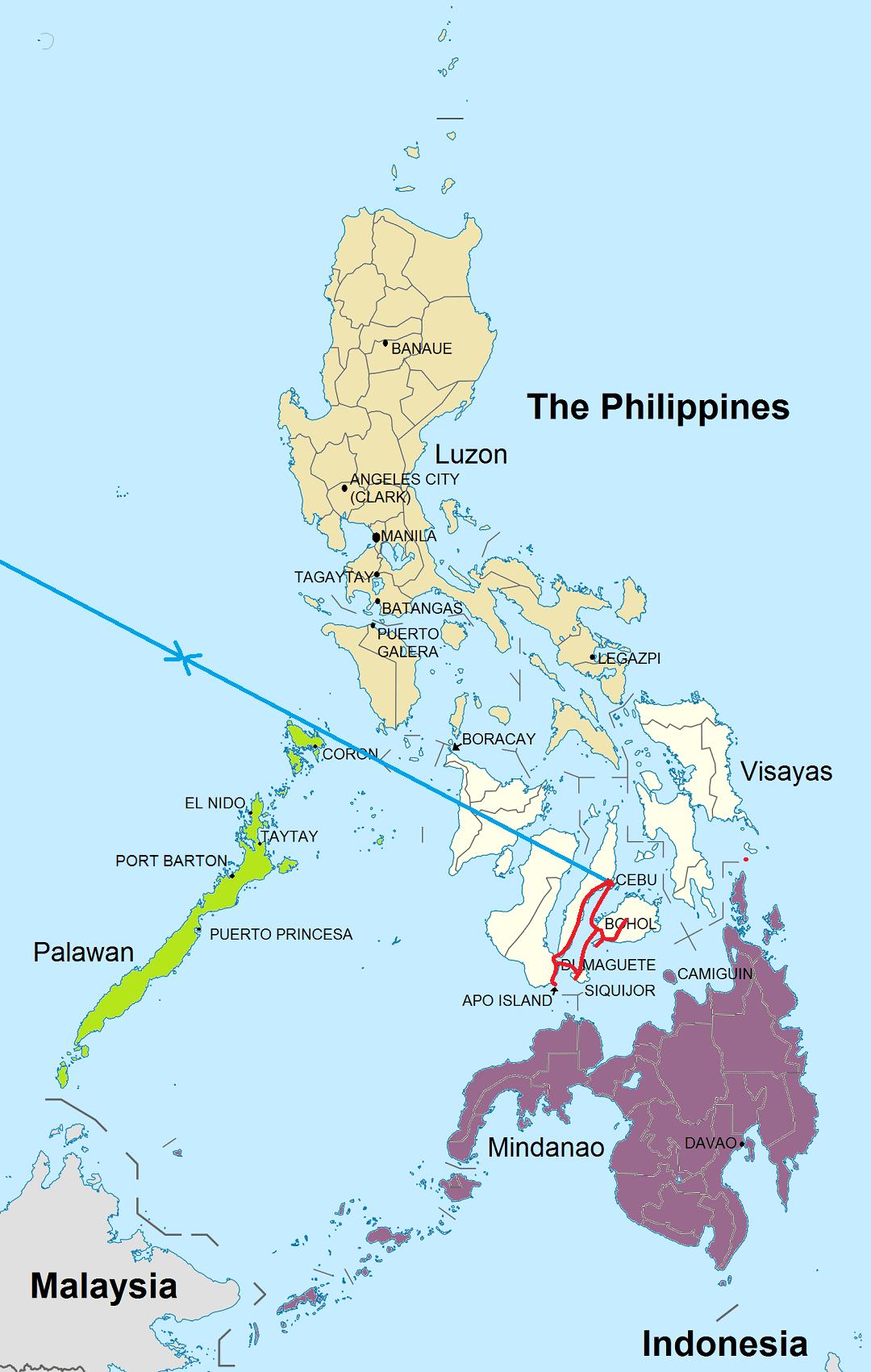 Route rondreis Central Visayas