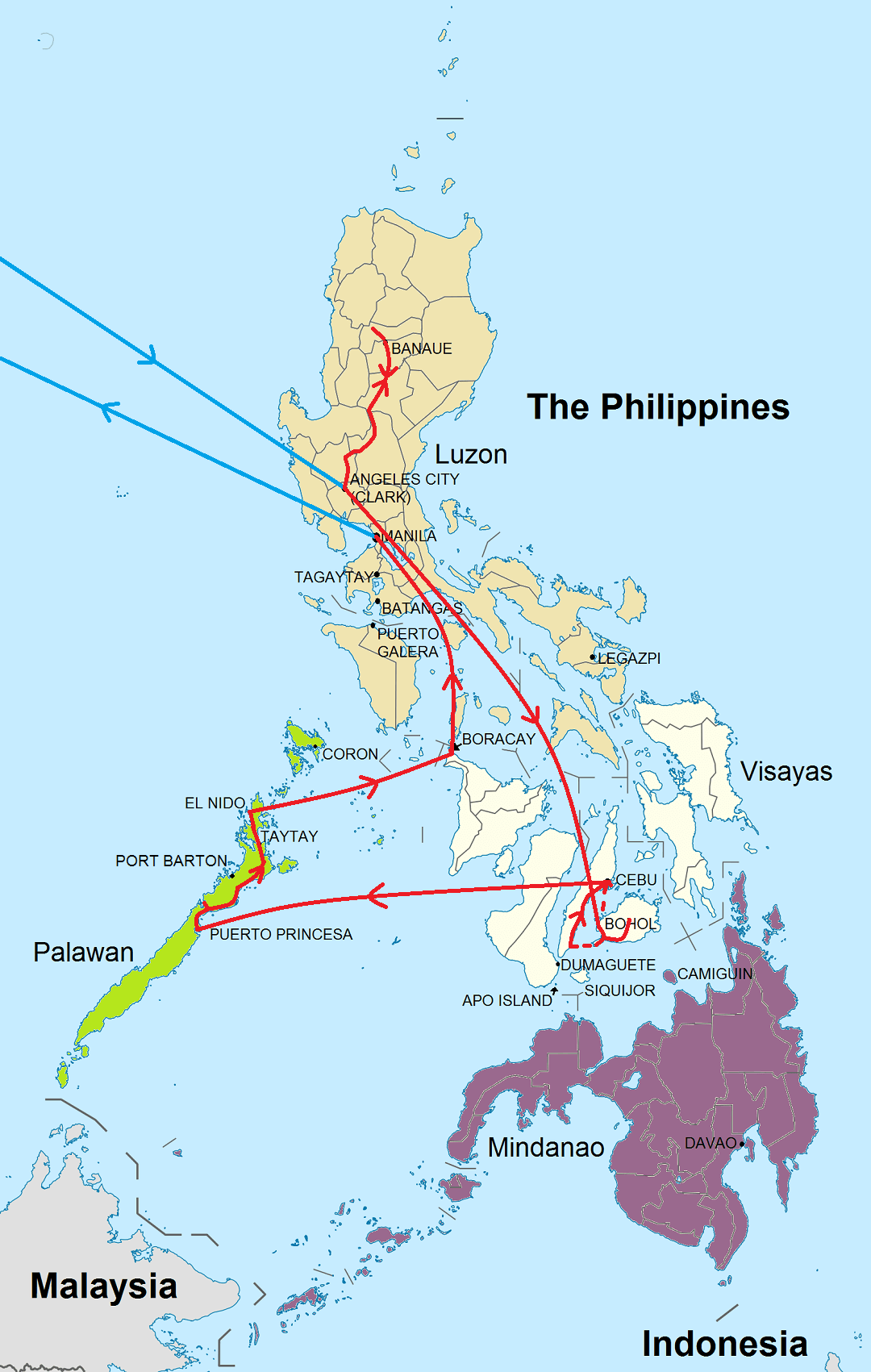 Route rondreis Hoogtepunten Filipijnen
