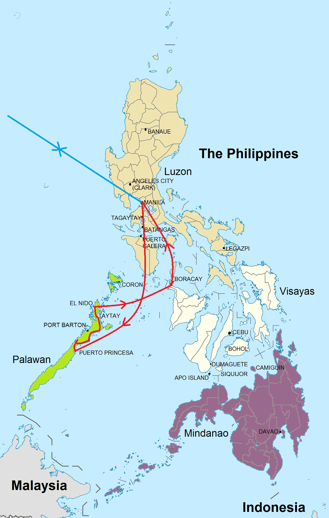 Route rondreis Kennismaking Filipijnen