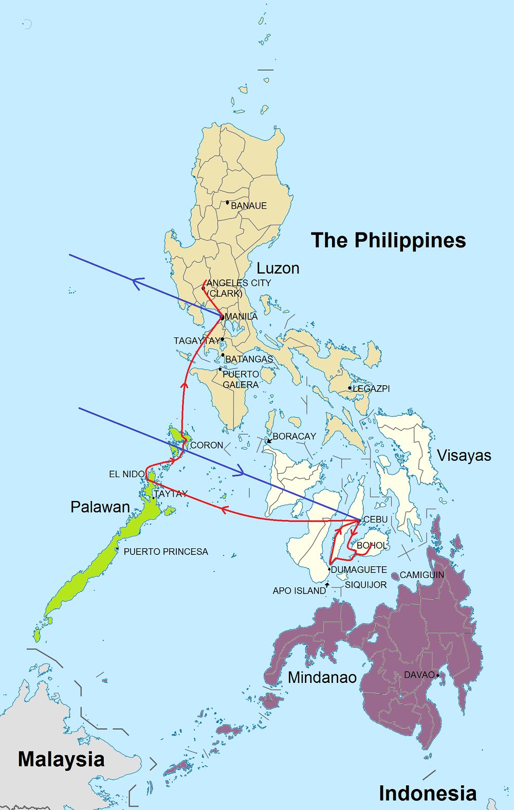 Route rondreis Philippines Adventure tour
