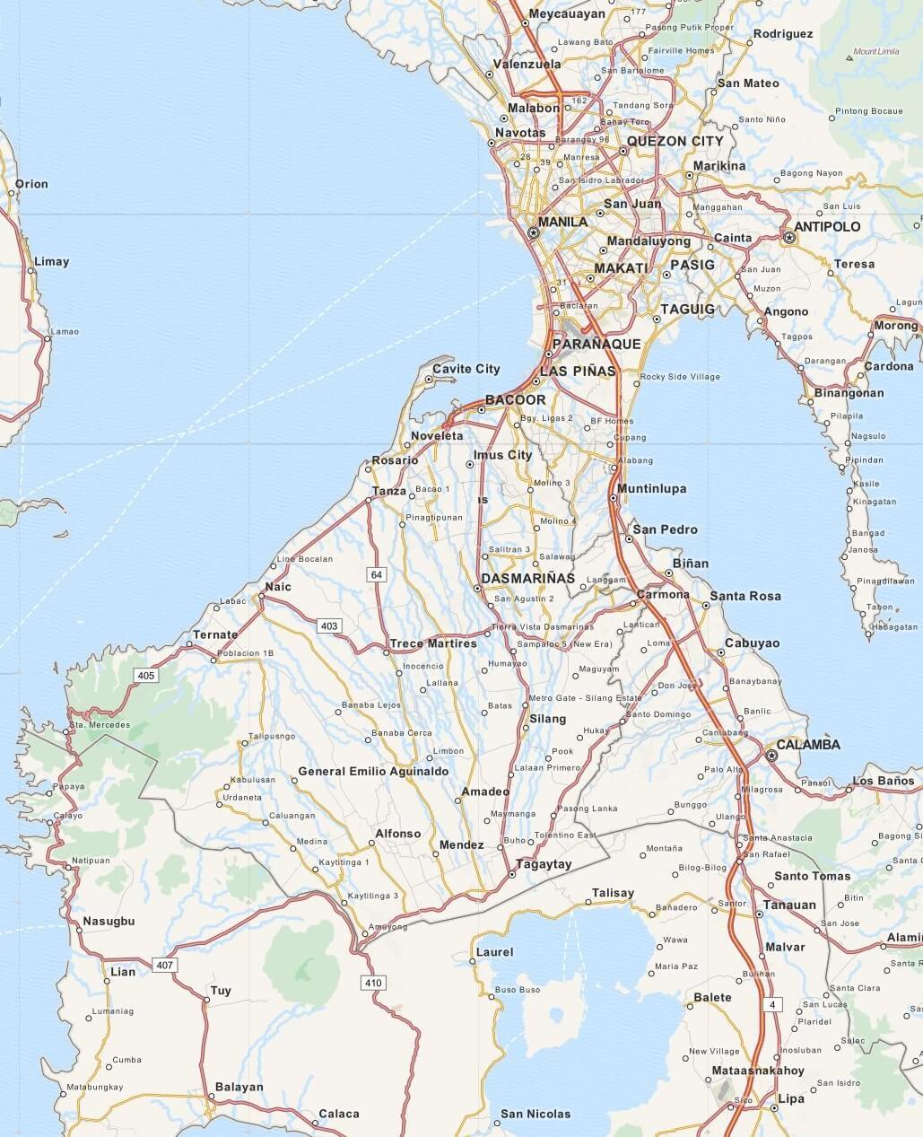 Kaart Tagaytay en omgeving, Luzon, Filipijnen