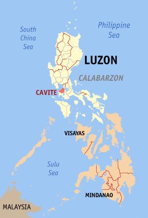Ligging van de provincie Cavite op Luzon Island, Filipijnen