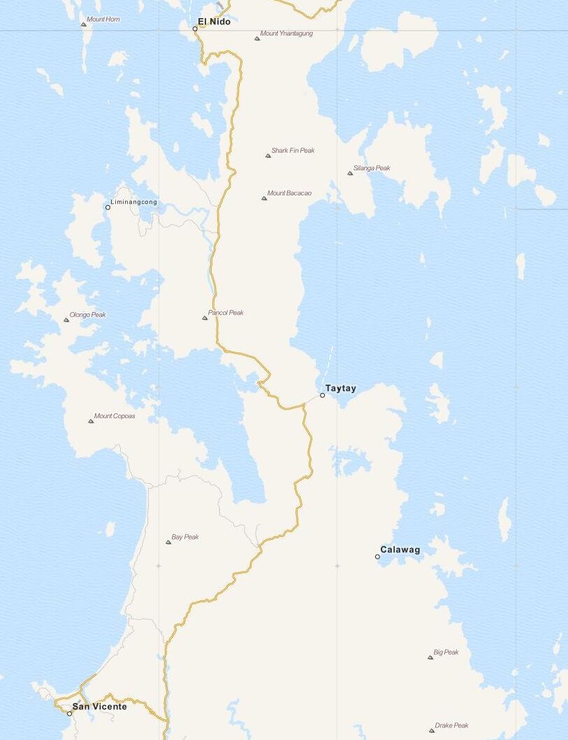 Kaart gemeente Taytay op Palawan Island, Filipijnen