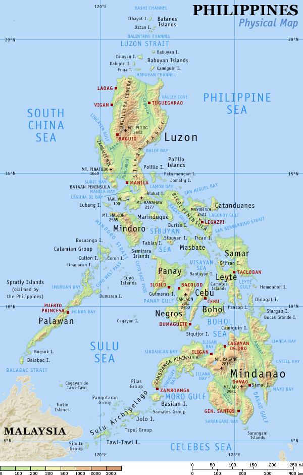 Topografische kaart Filipijnen
