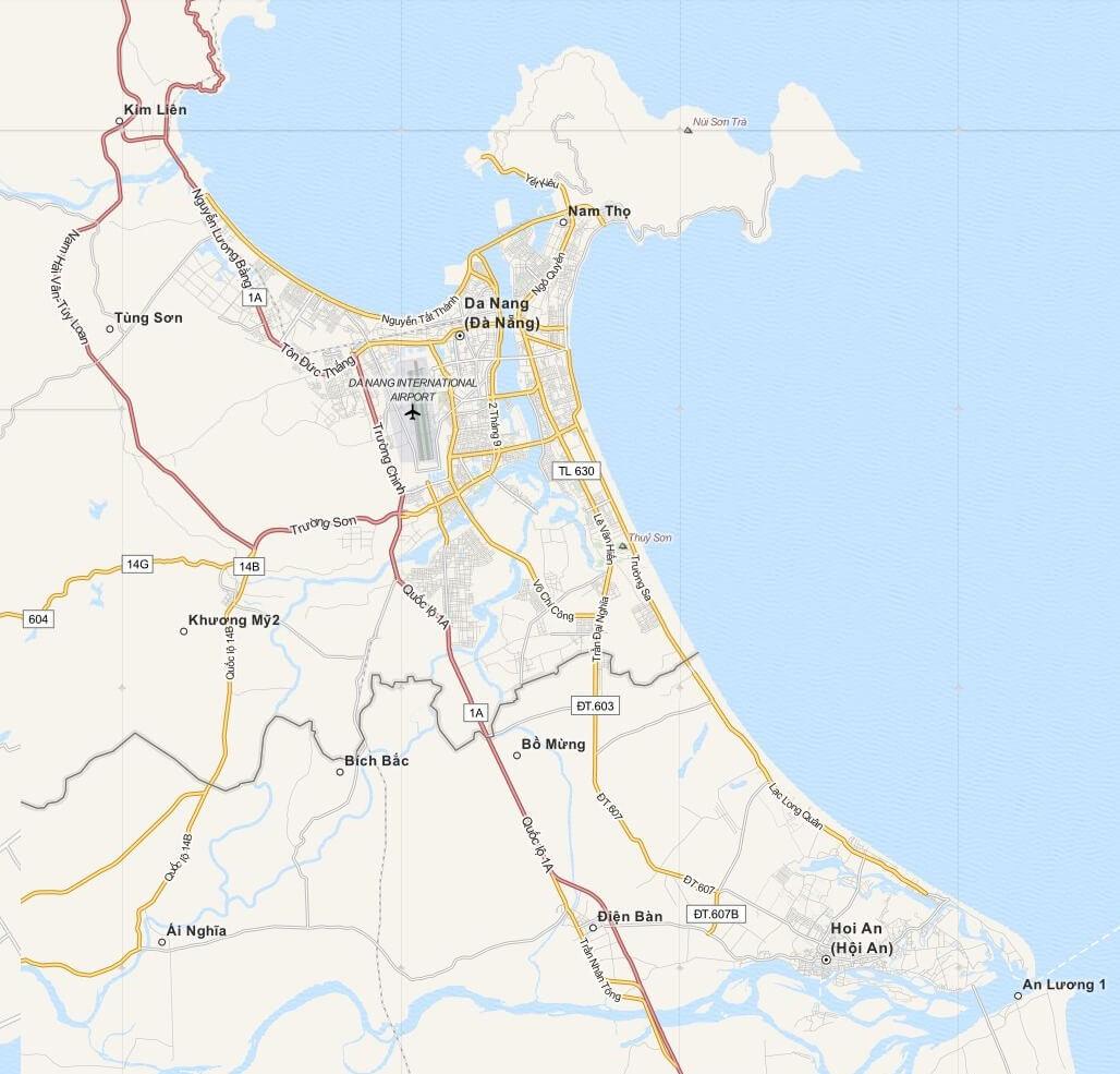 Plattegrond Da Nang (Danang) en Omgeving, Midden Vietnam