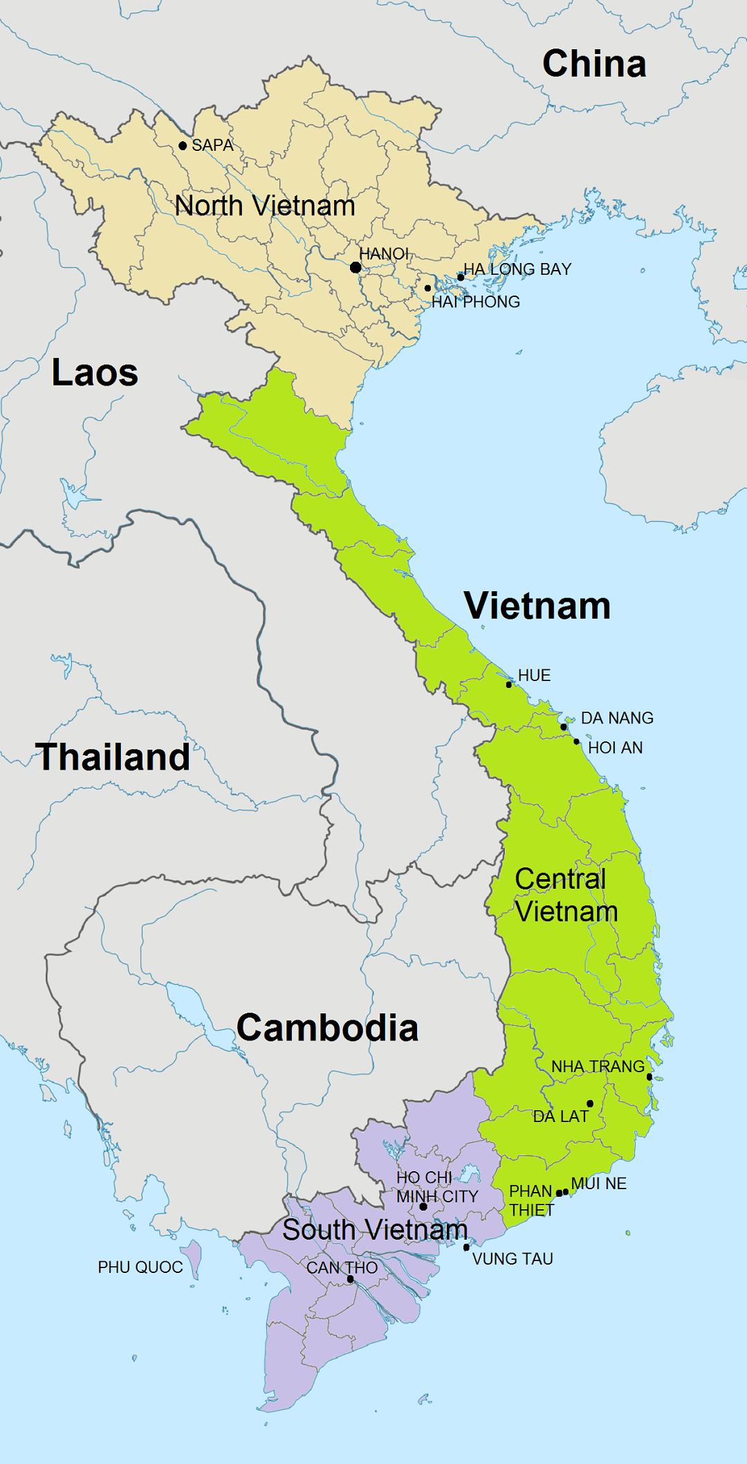 Vakantie Vietnam, kaart met de belangrijkste bestemmingen