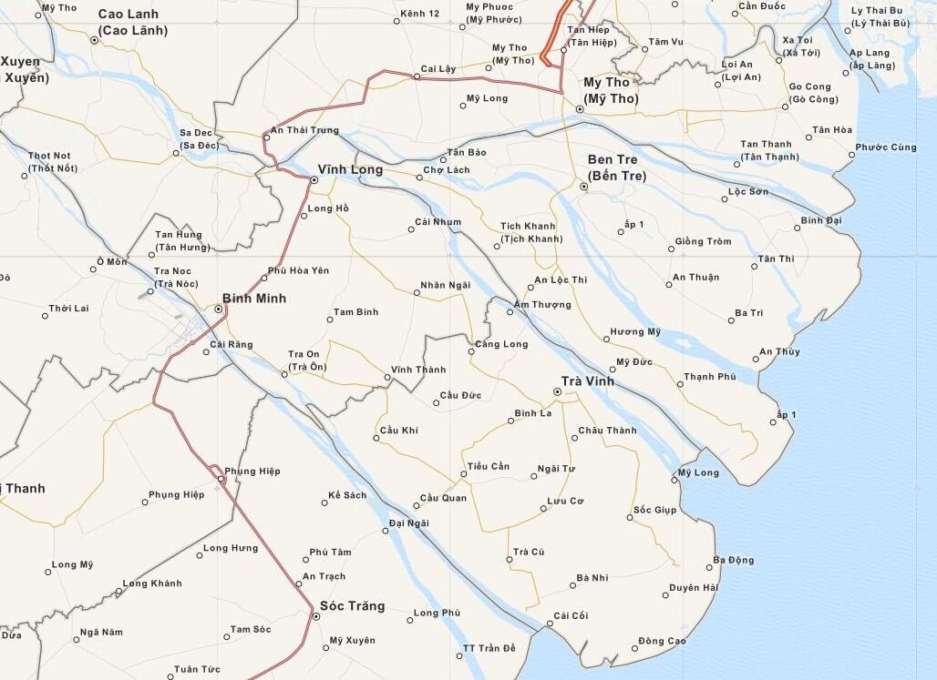 Kaart Mekong Delta, Zuid Vietnam