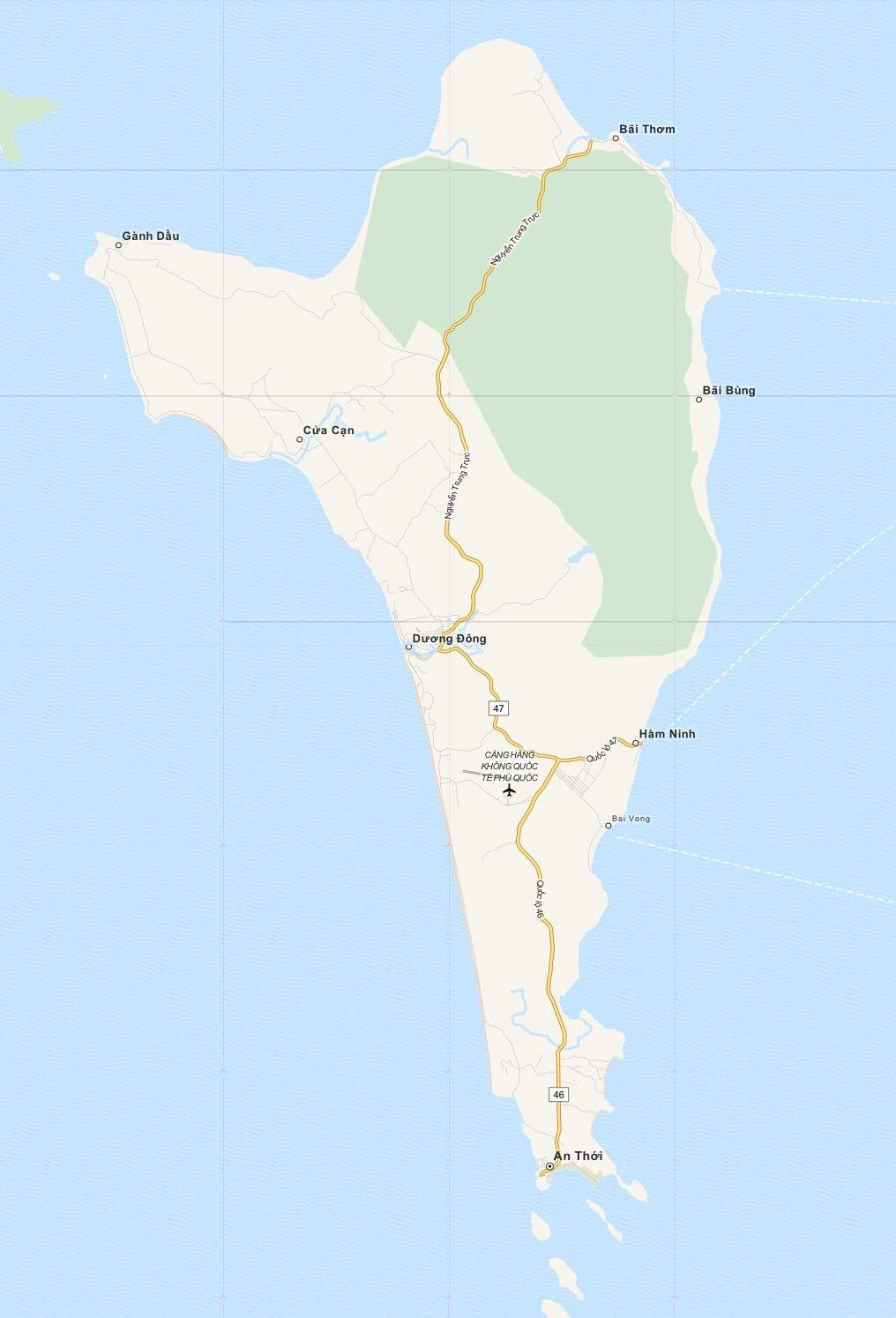 Kaart Phu Quoc Island, Zuid Vietnam